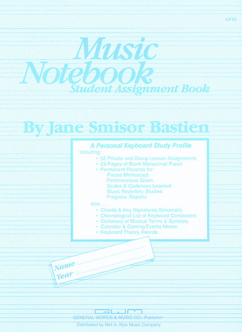 Bastien - Music Notebook Student Assignment Book