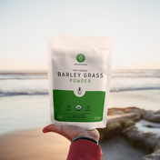 Barley Grass taking in the deep ocean view as the sun sets