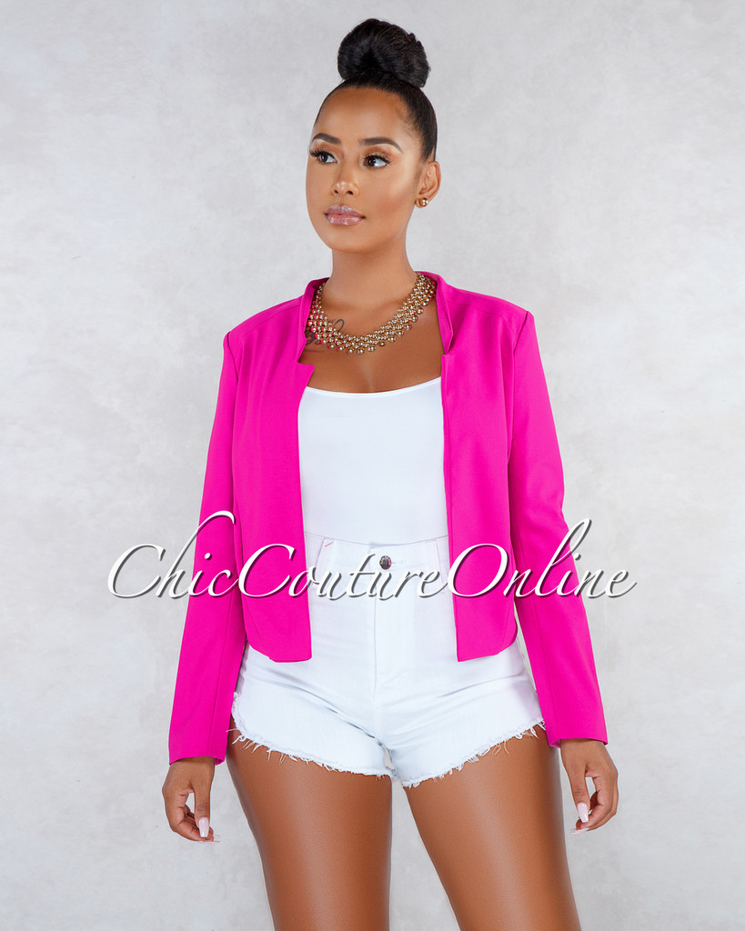 Kensington Fuchsia Long Sleeves Short Jacket