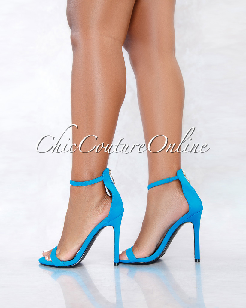 Mozie Turquoise Blue Ankle Strap High Heel Sandals