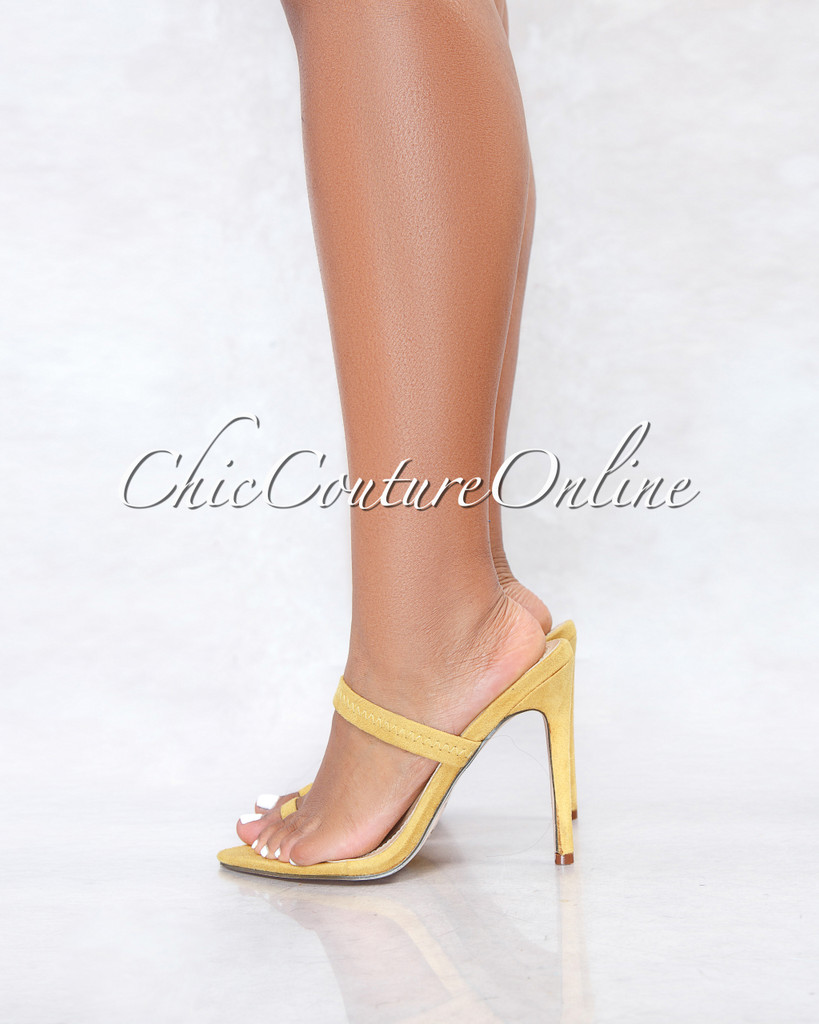 Gordon Yellow Faux Suede Pointed Toe Single Finger Heels