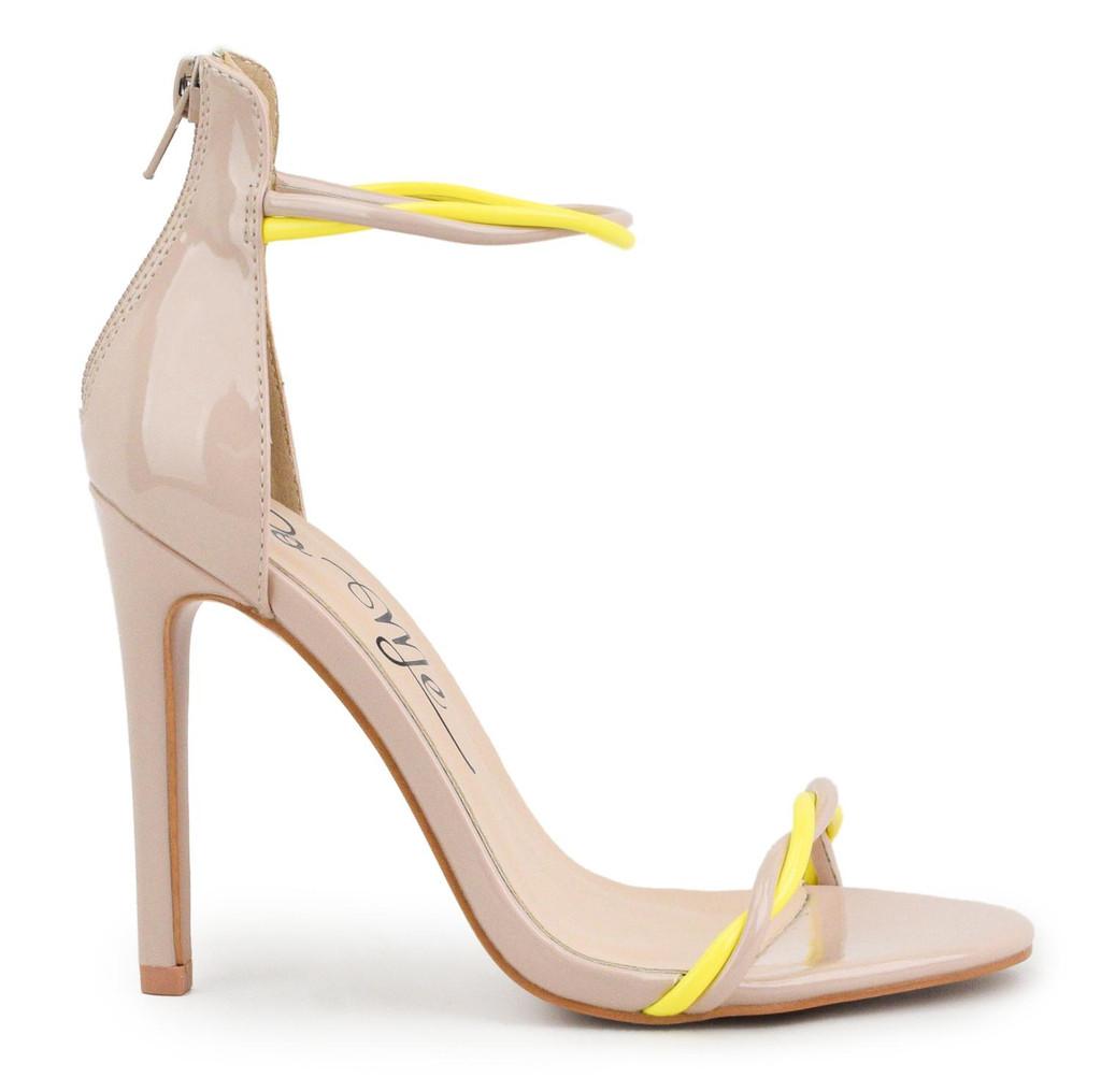 Nessa Nude Neon Yellow Turn Strap High Heel Sandals