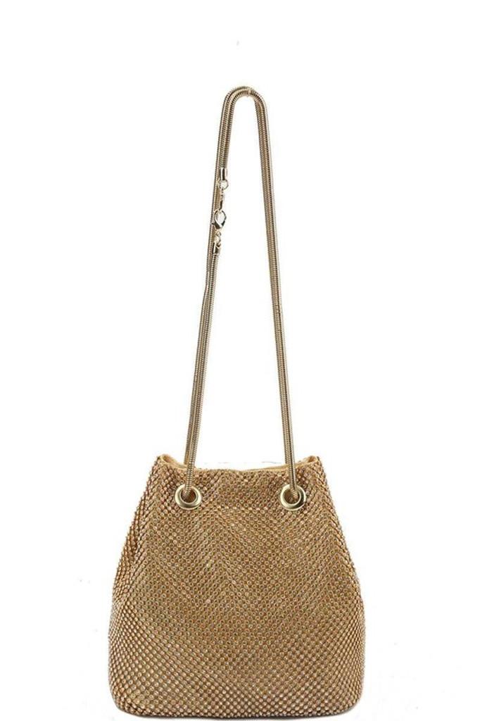 Saree Gold Pavé Rhinestones Clutch Bag