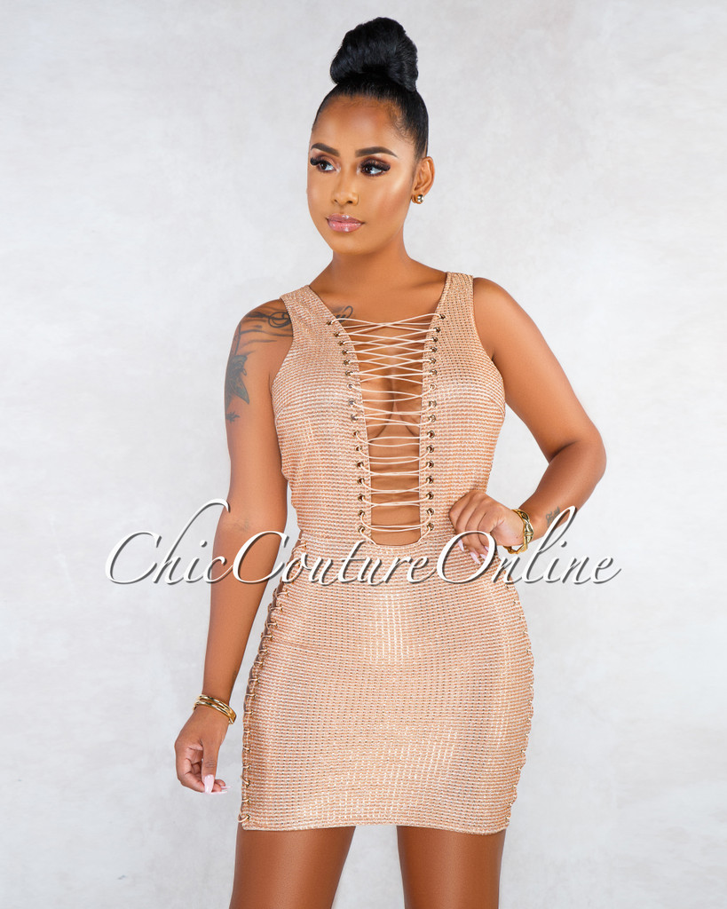 Dalila Nude Rose Gold Shimmer Lace-Up Ultra Sexy Dress