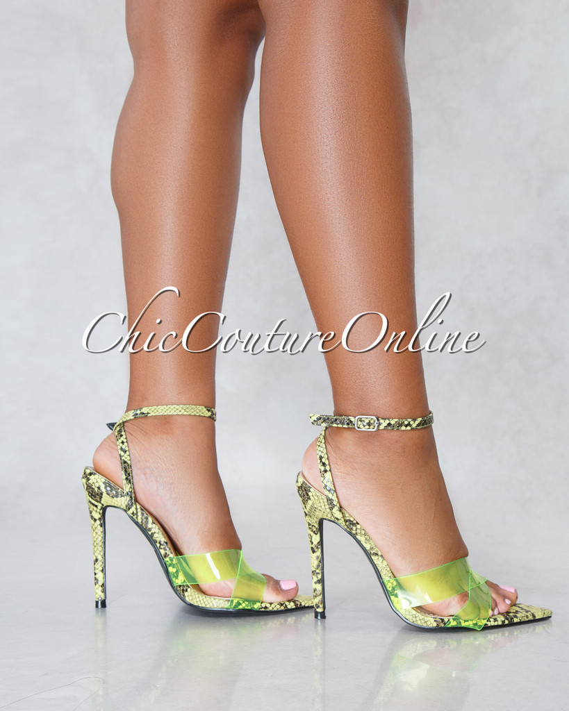 Zilia Neon Yellow Clear Strap Snake Print High Heels