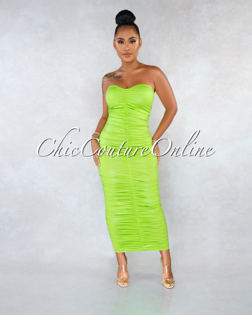 Leana Apple Green Iridescent Ruched Strapless Dress