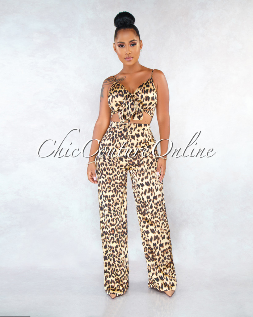 Mildred Leopard Print Silky Two Piece Set