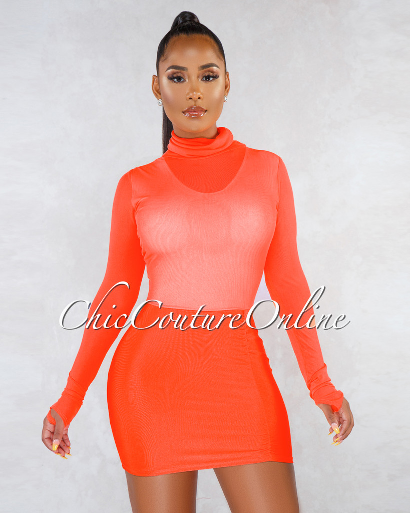Melaney Neon Orange Mesh Top Ruched Bottom Mini Dress