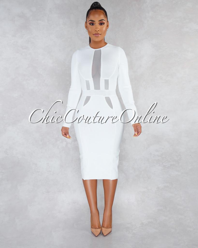 Farlane Off-White Mesh Details Bandage Midi Dress
