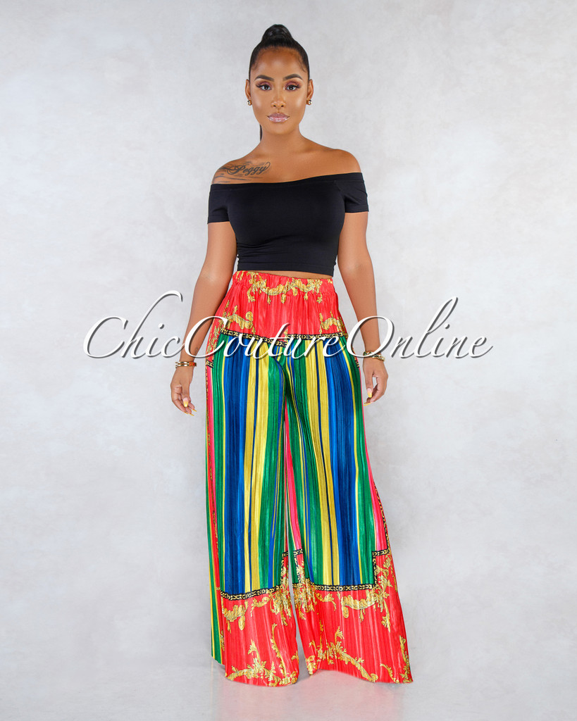 Britton Red Green Print Pleated Wide Legs Satin Pants