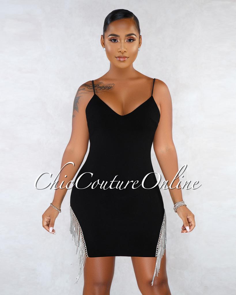 Camille Black Side Rhinestones Fringe Mini Dress