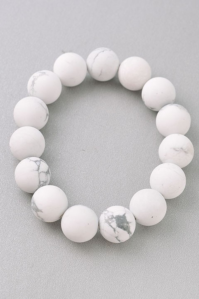 Taira White Agate Beaded Bracelet