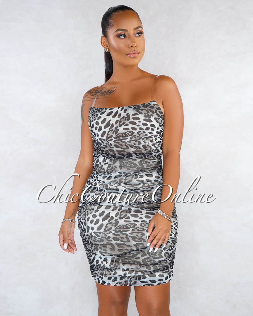 Lucky Grey Leopard Print Ruched Clear Straps Dress