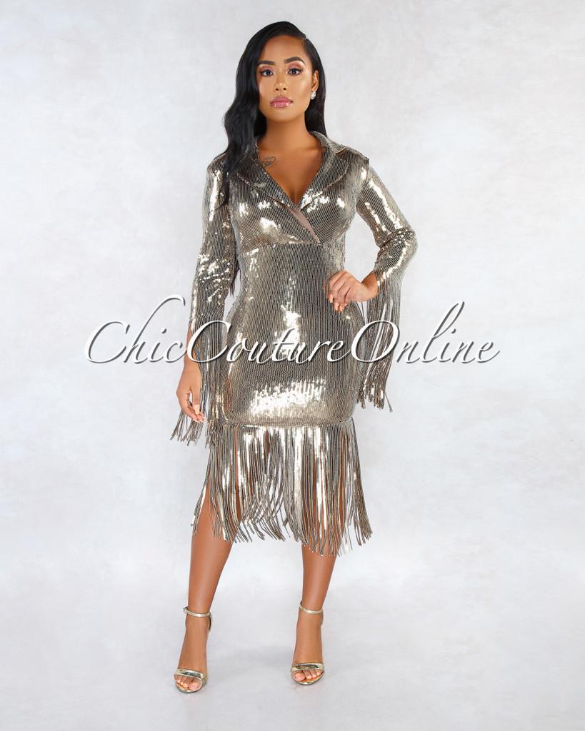 Ritzy Olive Sequins Trench Neck Fringe Details Midi Dress