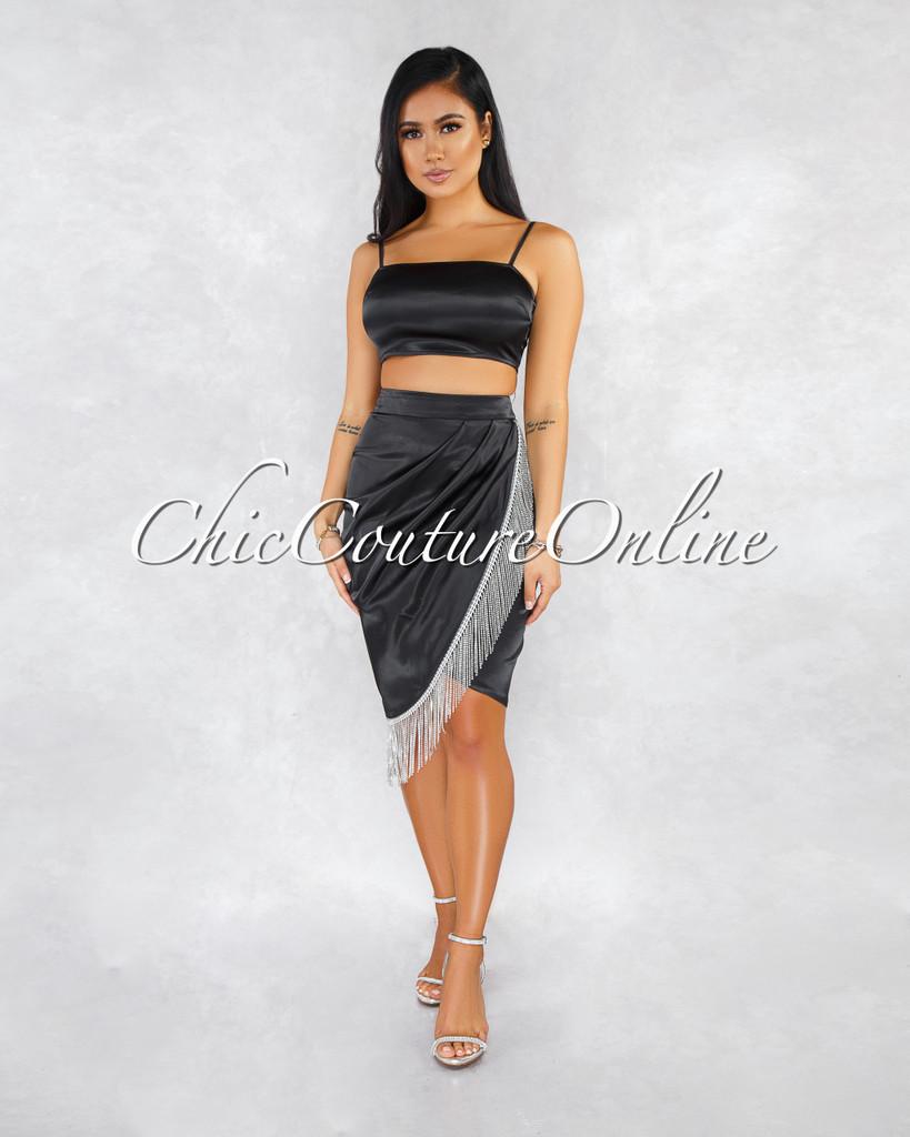 Alpha Black Faux Leather Rhinestones Fringe Skirt Two Piece Set