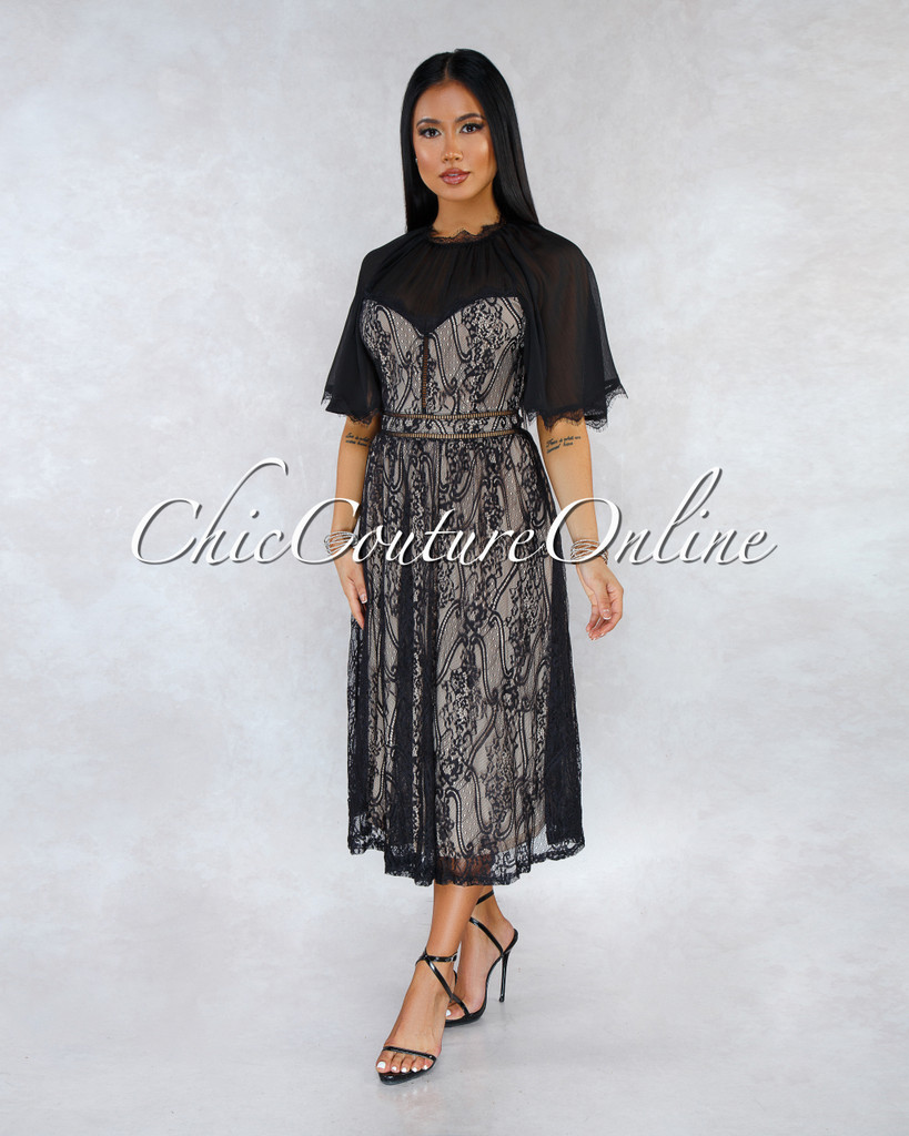 Aurelia Black Nude Illusion Lace Midi Dress