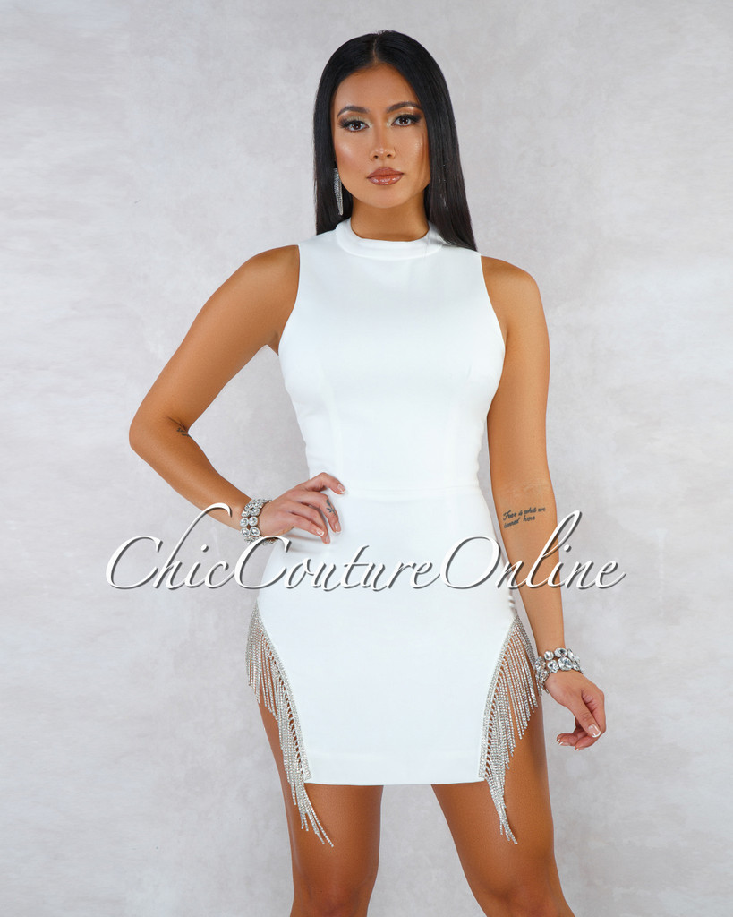 Affair Off-White Side Rhinestones Fringe Mini Dress