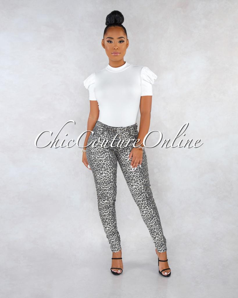 Diamante Leopard Print Mid Waist Denim Jeans