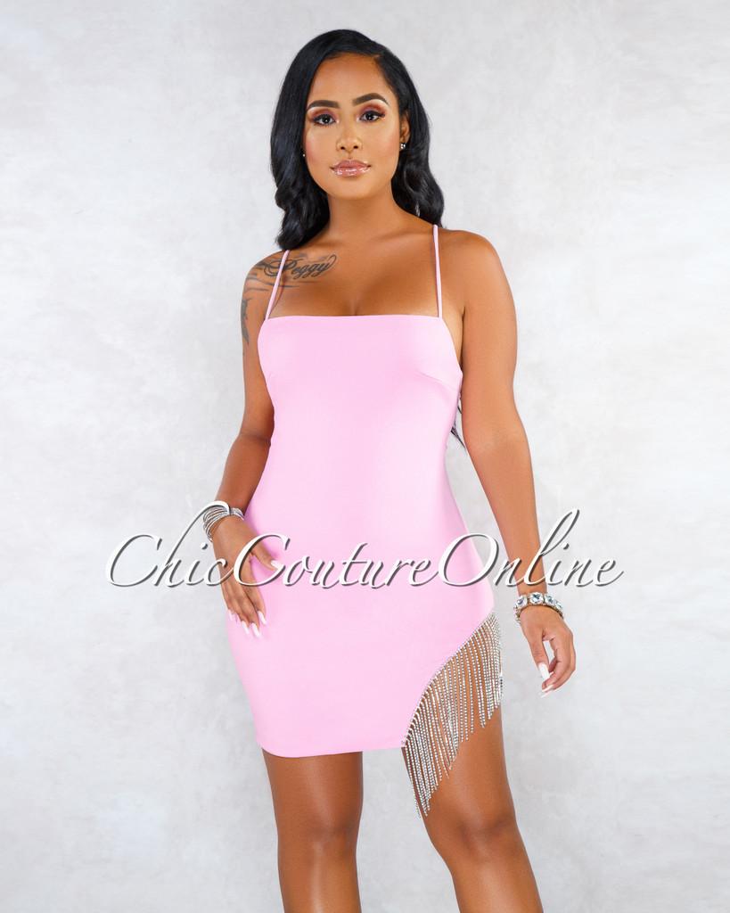 Santiago Pink Fringe Rhinestones Sides Mini Dress