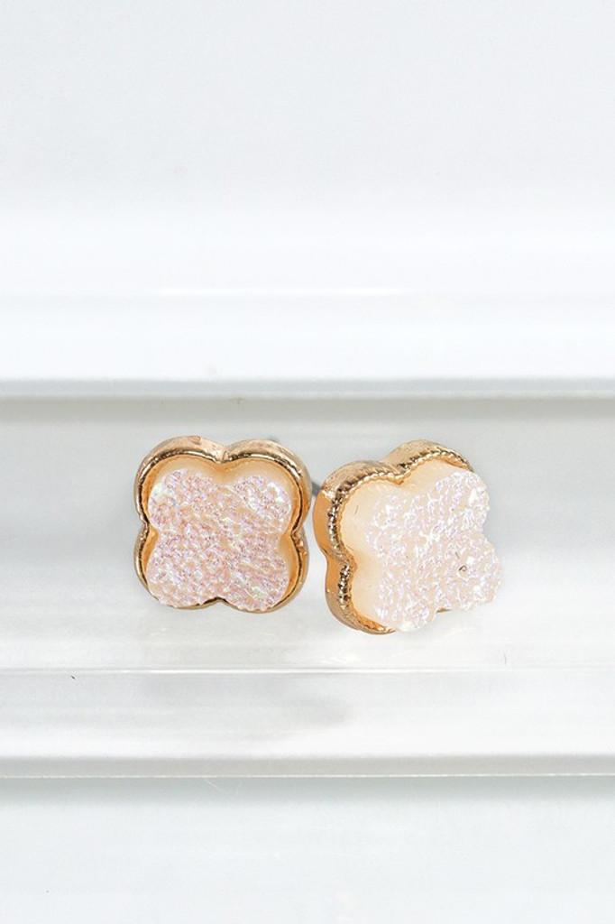 Stylla Clover Druzy Post Earrings