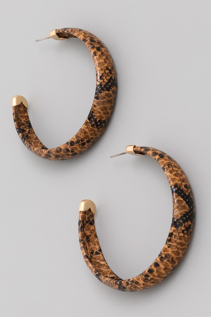 Jiggy Brown Snake Print Hoop Earrings