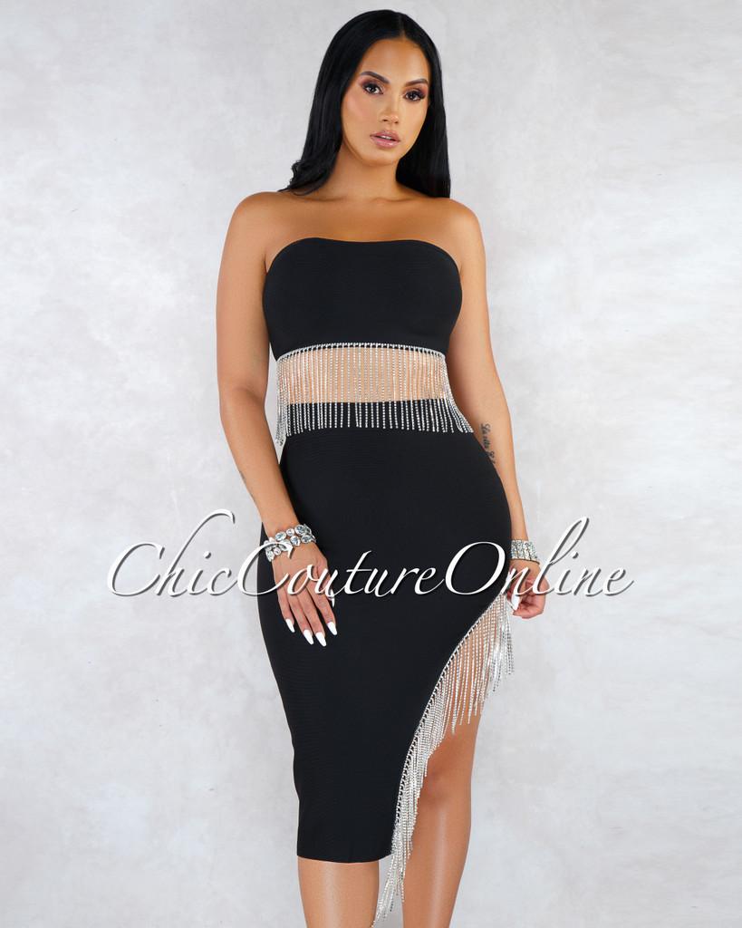 Christel Black Rhinestones Fringe Skirt Bandage Set