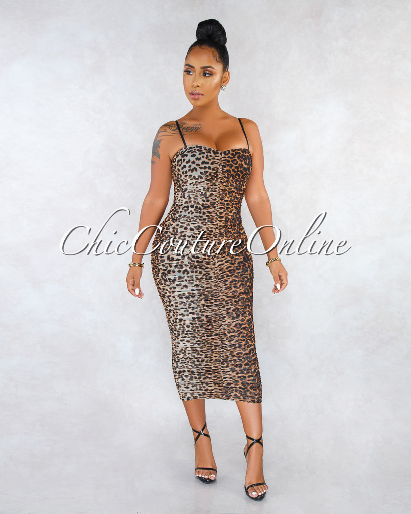 Julian Leopard Print Mesh Ruched Maxi Dress