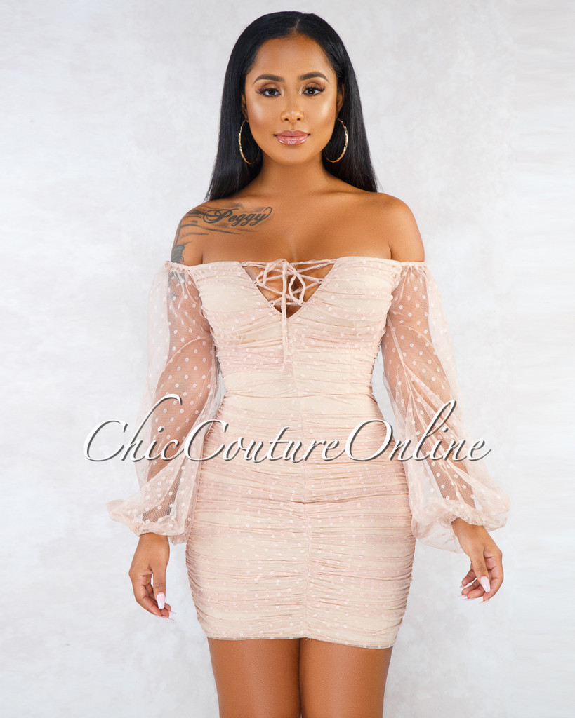 Valentia Beige Tulle Ruched Tulle Polka Dots Sheer Sleeves Dress