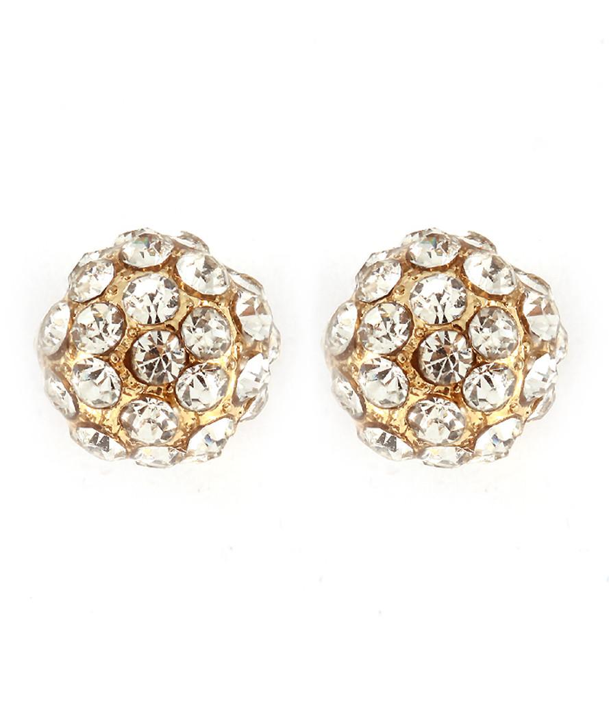Gold Pavé Ball Earrings Crystal Studs