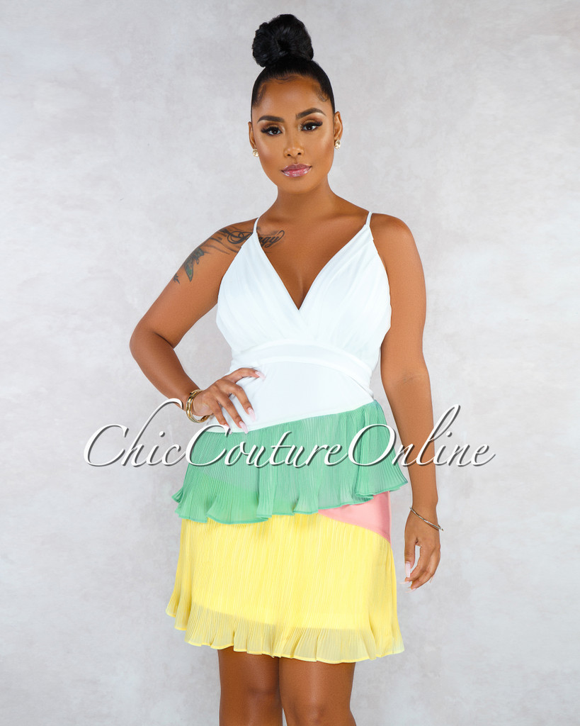 Anna Off-White Sage Lemon Salmon Ruffle Pleated Dress