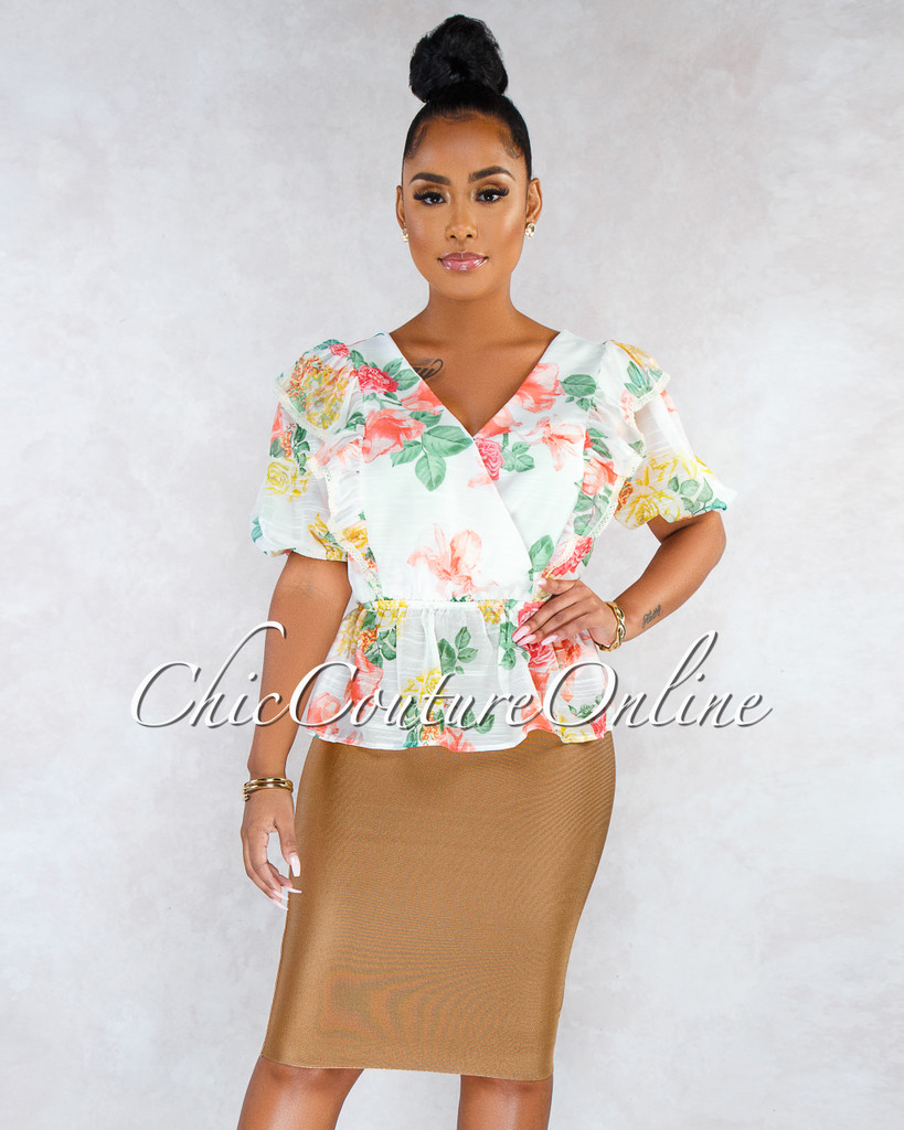 Lizeth Clay Light Brown Elastic Body-Con Skirt