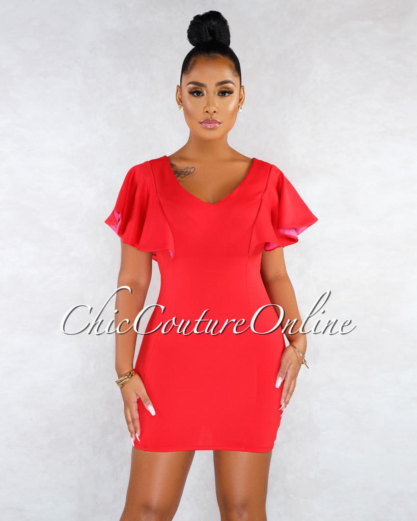 Kristalee Red Fuchsia Ruffle Detail Dress