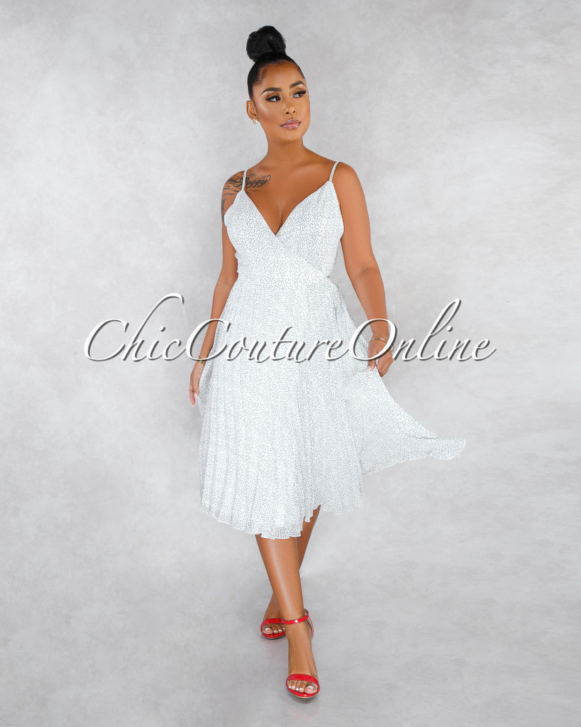 Florencia Off-White Black Polka Dots Pleated Wrap Midi Dress