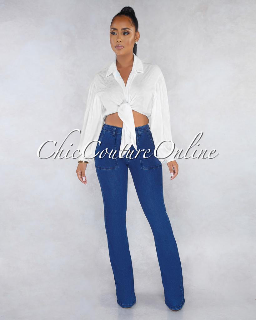 Adalina Medium Denim Rose Gold Buttons Bell Legs Jeans