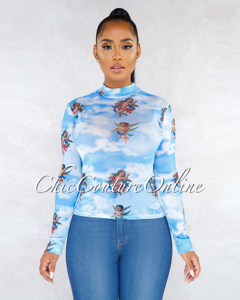 Heaven Sky Blue Angels Print Mesh See-Through Blouse
