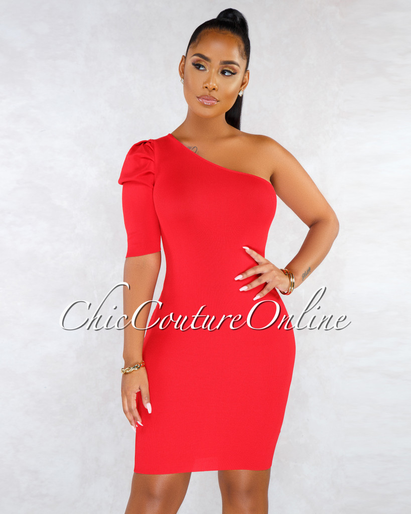 Spikey Red Single Puffy Sleeve Knit Midi Dress