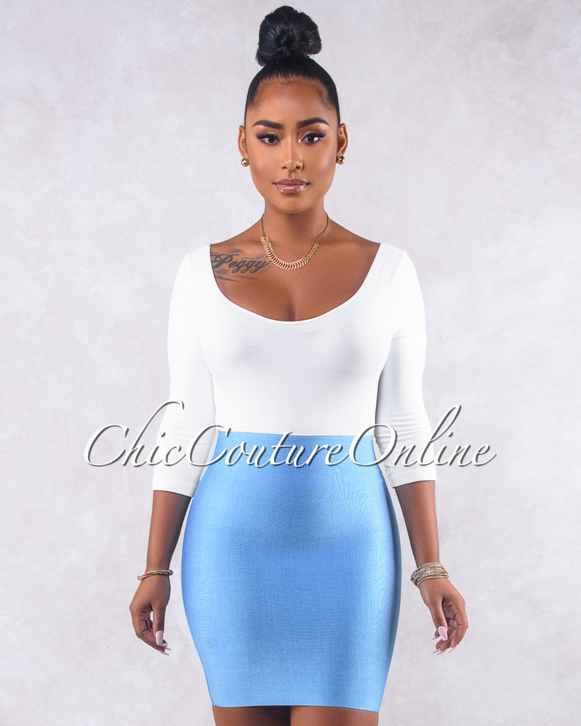 Wynn Baby Blue Elastic Body-Con Mini Skirt
