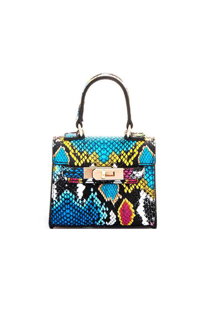 Carro Multicolor Snake Print Mini Satchel Bag