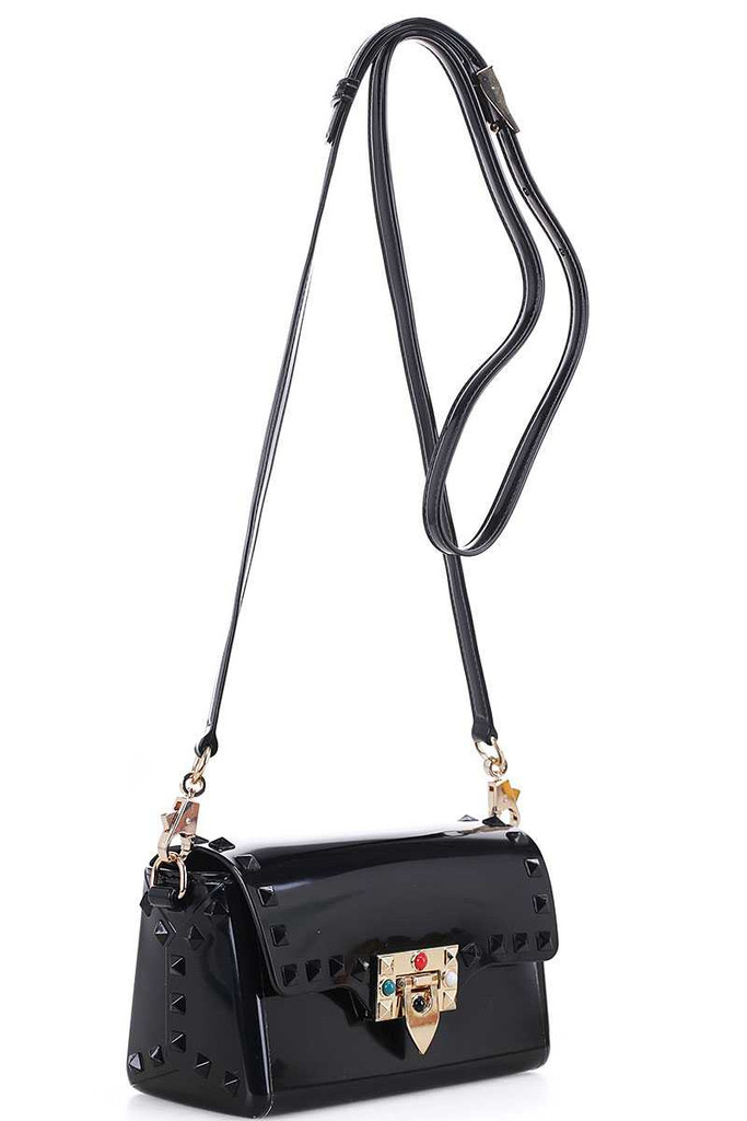 Tarra Black Studded Crossbody Bag