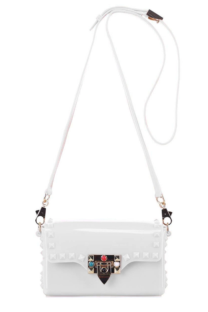 Tarra White Studded Crossbody Bag