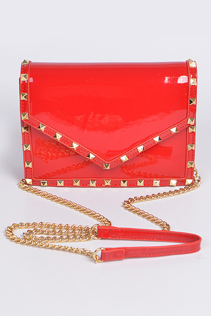 Stella Red Studded Crossbody Bag