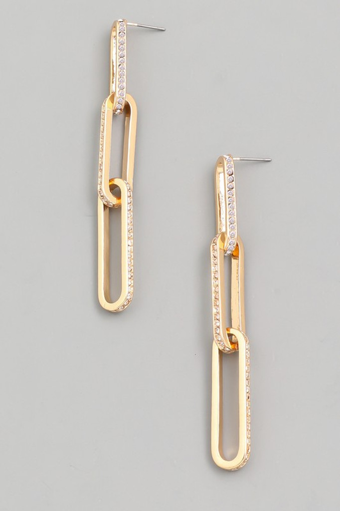 Janna Gold Pave Oval Chain Link Earrings