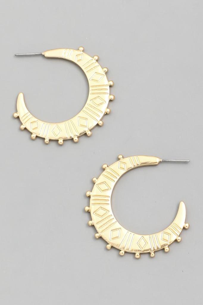 Barbie Gold Crescent Moon Hoop Earrings