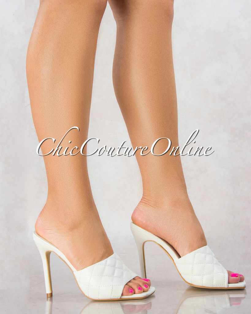 Stitch White Quilted Upper Square Toe Heels