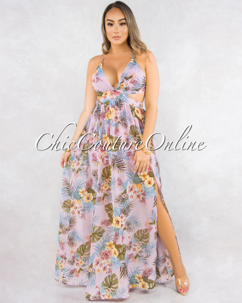 Donna Pink Leaf Print Back Lace-Up Maxi Dress