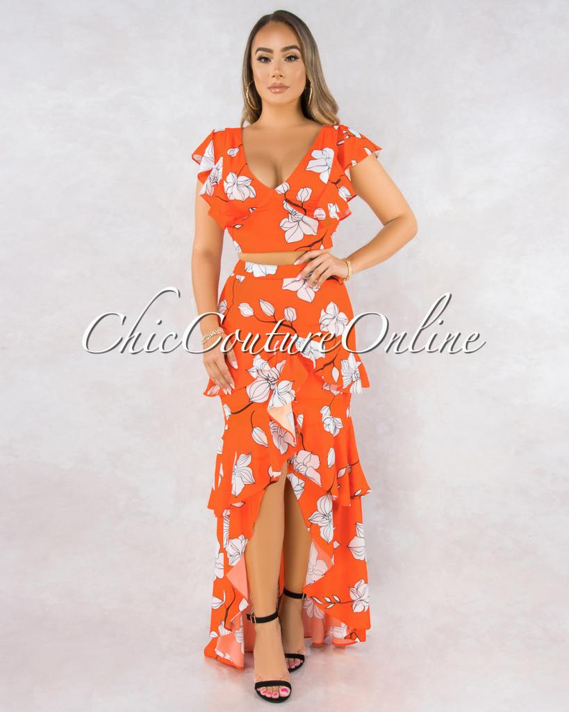 Phora Orange White Floral Print Two Piece Ruffle Skirt Set