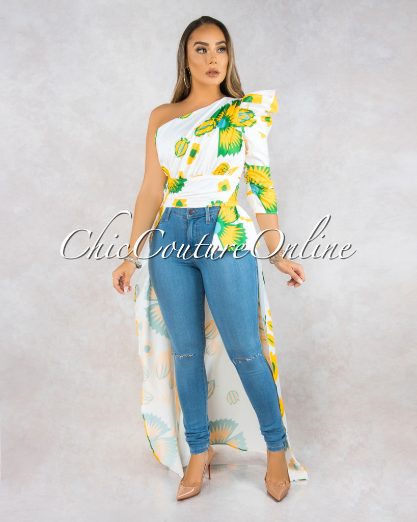 Evaluna White Yellow Dramatic High-Low Single Shoulder Top