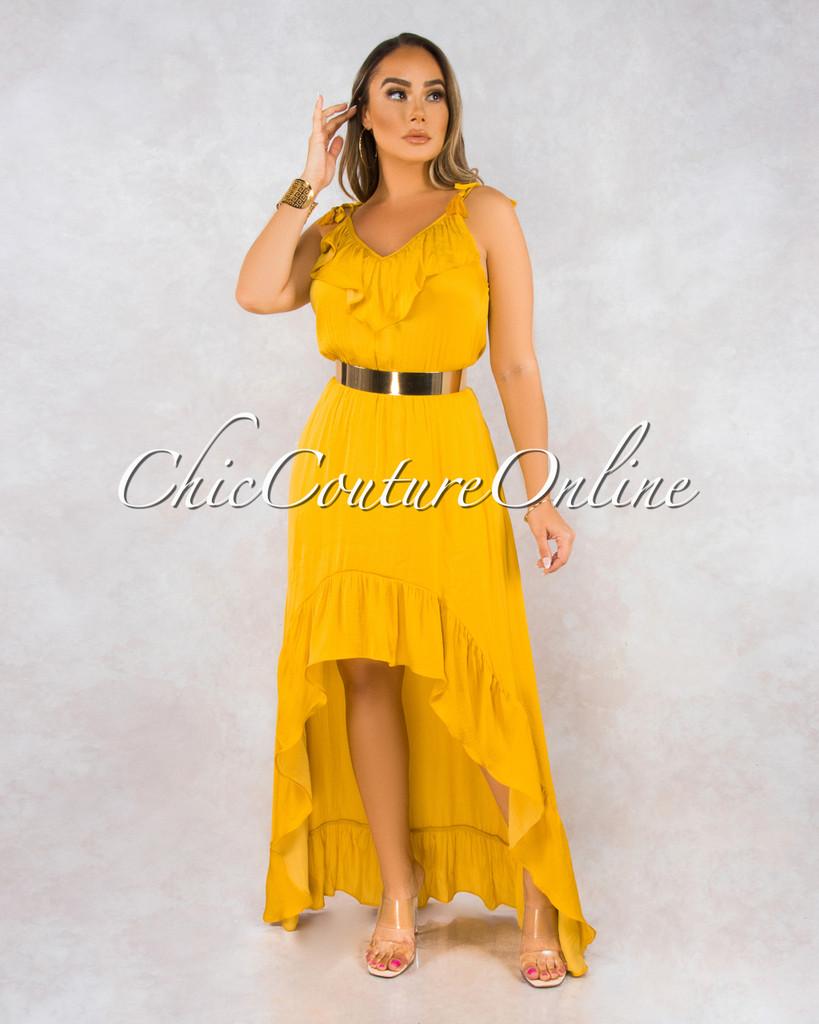 Rhetta Mustard Yellow Hi Low Maxi Dress