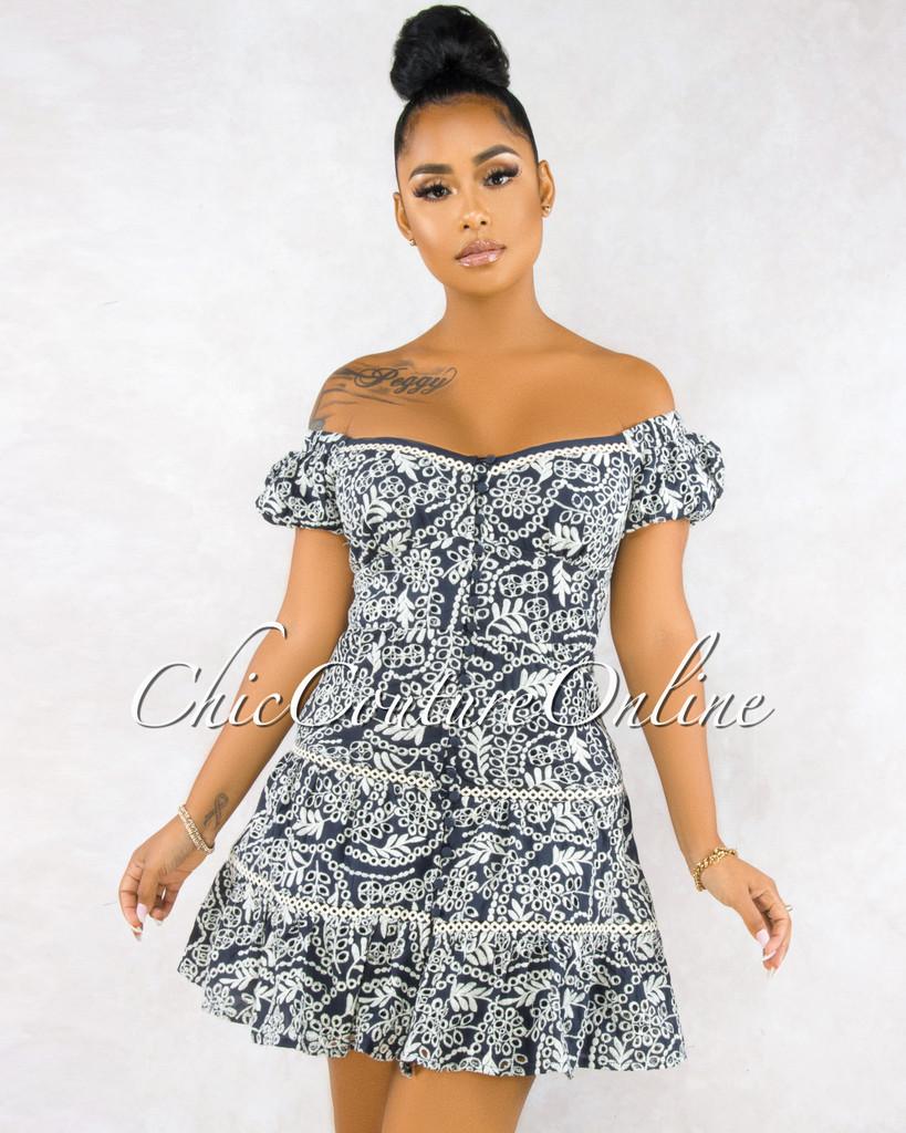 Mysha Navy Blue Eyelet Beige Leaf Print Dress