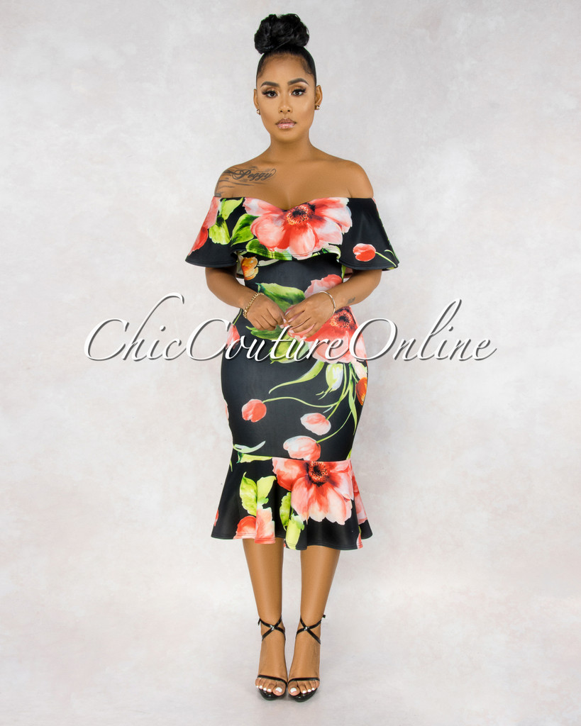 Amaris Black Floral Print Off-The-Shoulder Dress